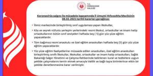 """""""YÜZ YÜZ EĞİTİME UYGULAMALARI"""" BAŞLIYOR"""
